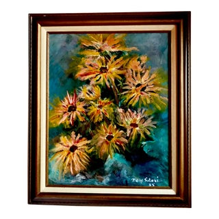 Vintage Abstract Floral Oil Painting by Mary Solbrig For Sale