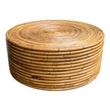 Image of 1970s Boho Chic Round Bamboo Rattan Coffee Table For Sale