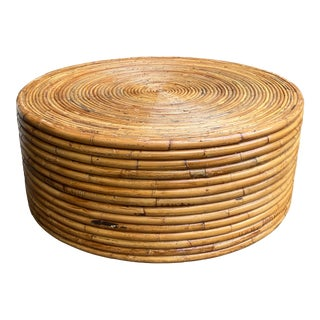 1970s Boho Chic Round Bamboo Rattan Coffee Table For Sale