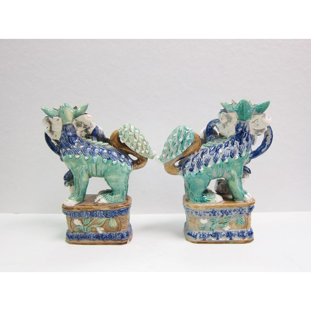 Vintage Turquoise Foo Dogs - A Pair - Image 5 of 8