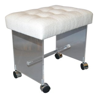 Mid-Century Modern Lucite Stool, Vanity Stool Tufted Boucle Fabric Seat Casters For Sale