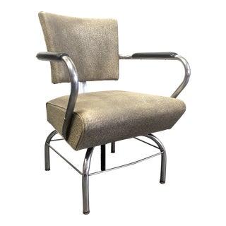 Art Deco Machine Age Royal Chrome Vinyl Salon Chair For Sale