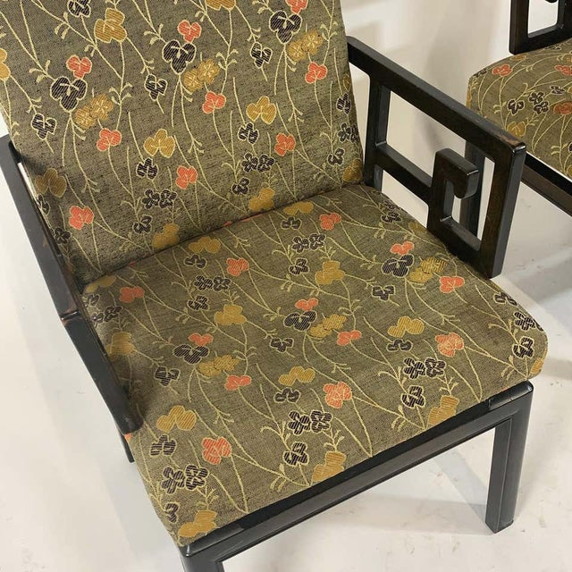Mid 20th Century Pair of Greek Key Far East for Baker Chinoiserie Armchairs by Michael Taylor For Sale - Image 5 of 13