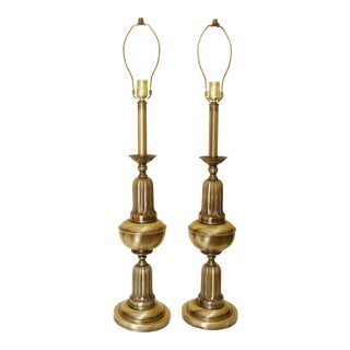 Vintage Tall Brass Table Lamps - A Pair