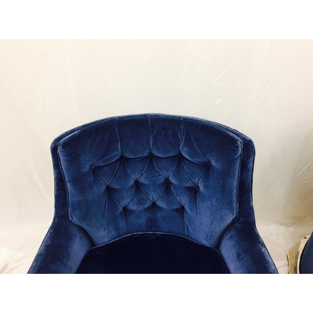 Navy Blue Velvet Club Chairs - a Pair - Image 5 of 8