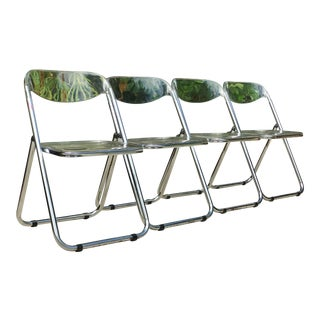 Vintage Italian Lucite Plia Folding Chairs - Set of 4 For Sale