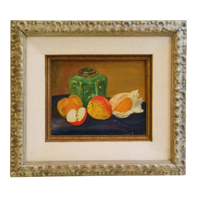1960s Fruit Tablescape Still Life Oil Painting For Sale