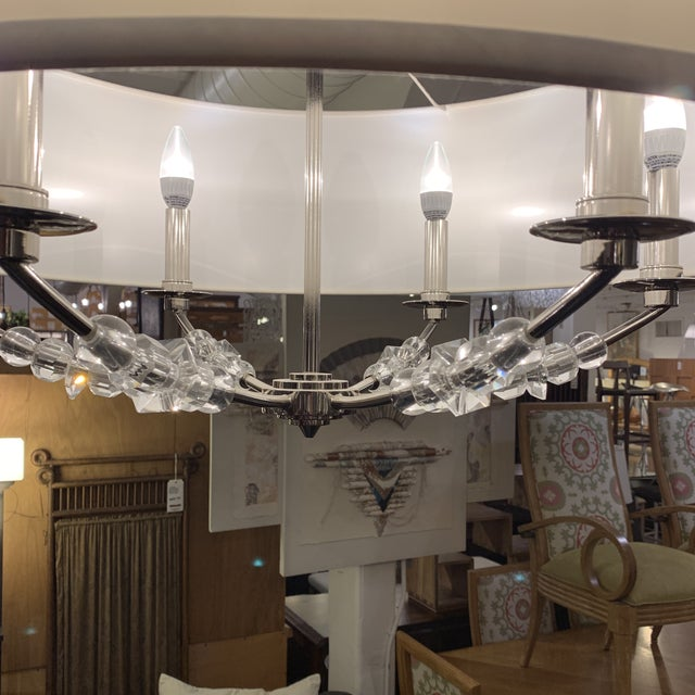 2010s Crystorama 'Mirage' Drum Six-Light Pendant Chandelier For Sale - Image 5 of 13
