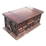 Image of Vintage Spanish Style Rustic Wood Storage Chest Trunk W Wrought Iron Hardware For Sale