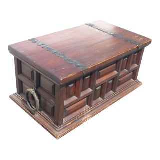 Vintage Spanish Style Rustic Wood Storage Chest Trunk W Wrought Iron Hardware For Sale
