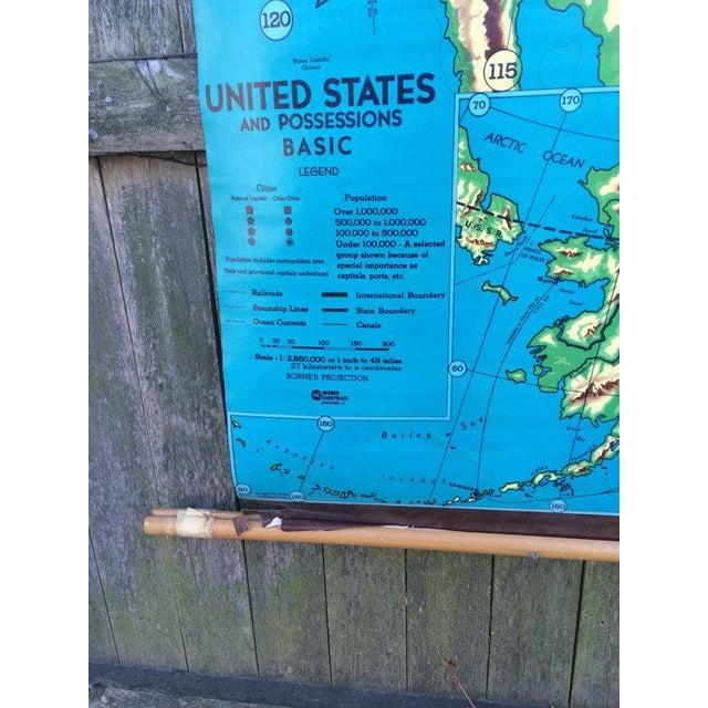 1960s Weber Costello Hanging United States Map - Image 6 of 6