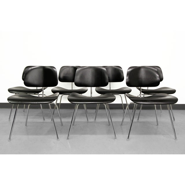 Mid-Century Modern Set of 7 Authentic Eames Herman Miller Dcm Black Ebony Mid Century Dining Chairs For Sale - Image 3 of 8