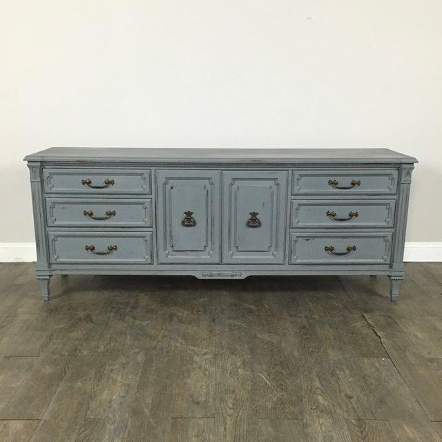 Vintage Gray-Blue Credenza - Image 2 of 11