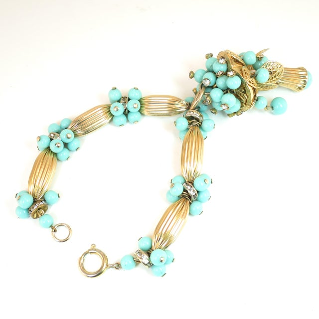 Miriam Haskell Turquoise Glass Necklace & Bracelet Set, Made in Germany 1950s For Sale - Image 9 of 13
