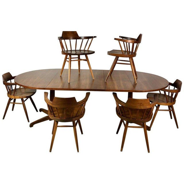 Early One of a Kind George Nakashima Dining Set With Six Captain Chairs Usa 1966 For Sale - Image 12 of 12
