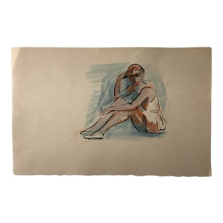 Vintage Watercolor Ballerina by John Coleman For Sale