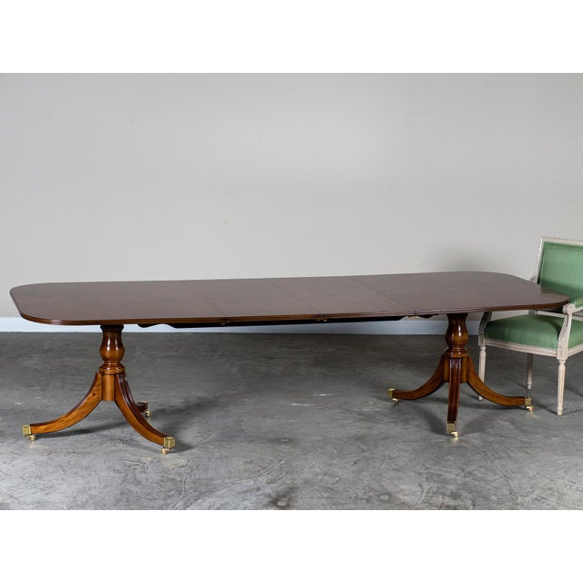 Burl Walnut Sheraton Style Double Pedestal Dining Table, Two Leaves, Hand Made in England - Image 9 of 11