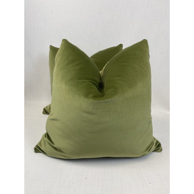 "2020s Leaf Green Velvet 22"" Pillows-A Pair For Sale - Image 5 of 5"