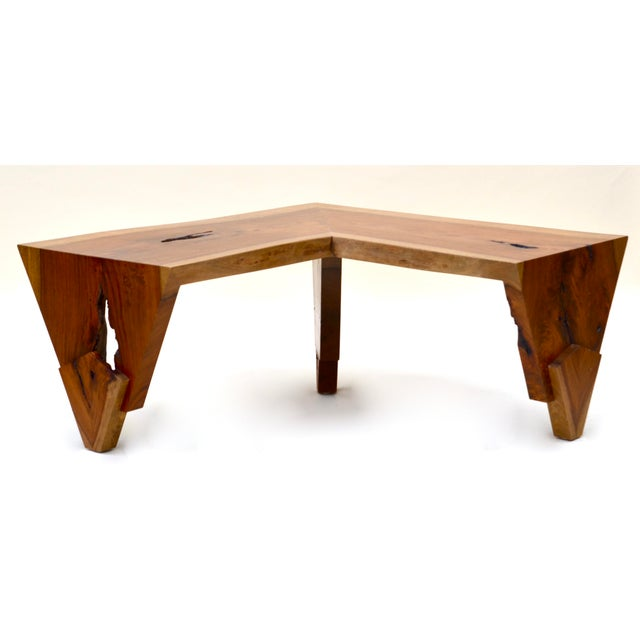 Wood 1980s Live Edge Waterfall Corner Table/Bench For Sale - Image 7 of 7