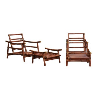 Fabulous Restored Pair of Custom-Commissioned Rattan Loungers With Ottomans For Sale