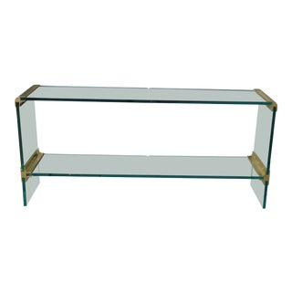 Vintage Pace Collection Contemporary Modern Gold Console Side Table W Glass For Sale