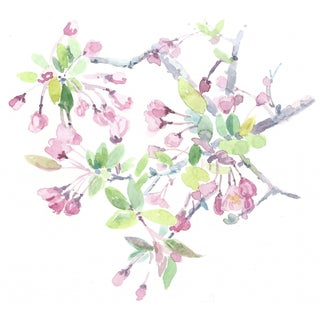 Original Watercolor Painting of Cherry Blossoms For Sale