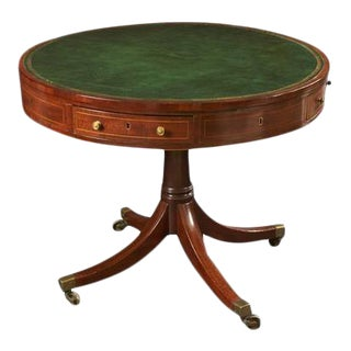 Regency Mahogany Leather Top Drum Table For Sale