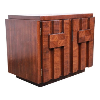 Paul Evans Style Mid-Century Modern Brutalist Walnut Nightstand by Lane For Sale
