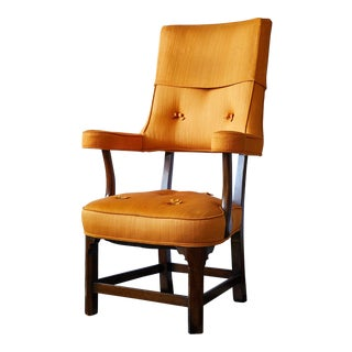Early 20th Century Mahogany Arm Chair in Vintage Orange Upholstery For Sale