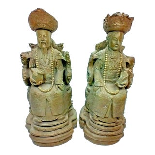Mid 20th Century House Parts Chinese Resin Figurine Statues of Emperor & Empress - a Pair For Sale