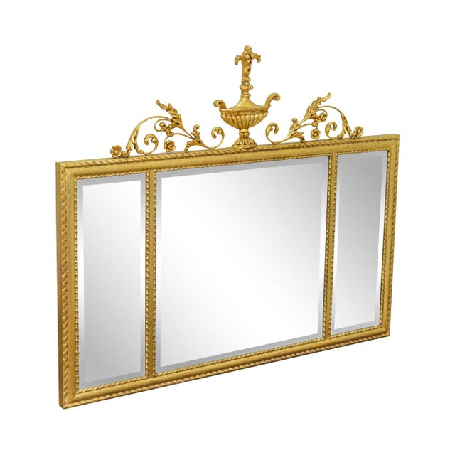 La Barge Neo-Classical Style Gilt 3 Section Beveled Mirror With Urn For Sale - Image 12 of 12