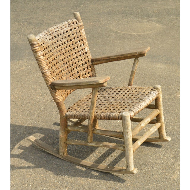 Old Hickory Antique Rustic Armchair & Rocker For Sale - Image 11 of 12