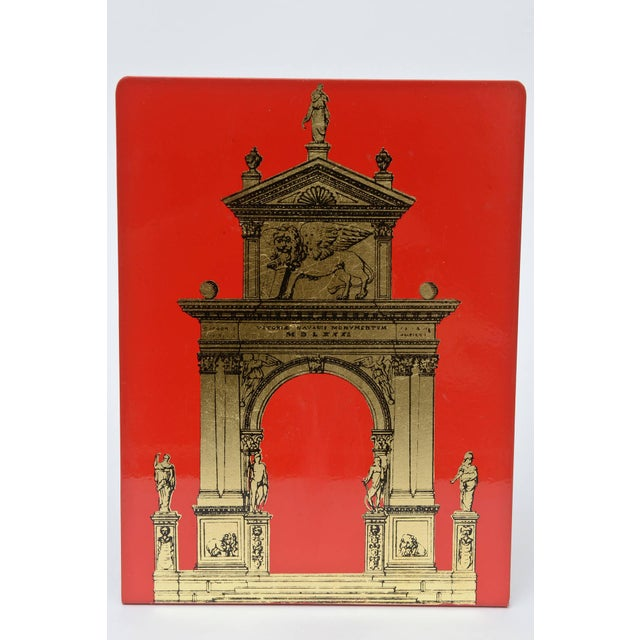 """Red Pair of Fornasetti Roman Classical """"Porta"""" Metal Bookends For Sale - Image 8 of 9"""
