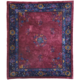 Antique Chinese Peking Rug With Art Deco Style - 8′2″ × 9′5″ For Sale