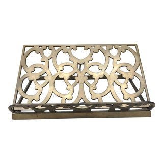 Mid Century Solid Brass Book Display Holder For Sale