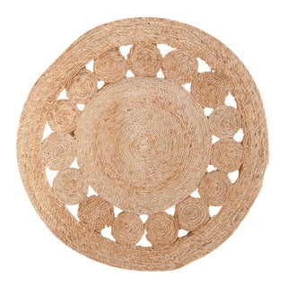 Extra Large Natural Jute Round Rug - 8' For Sale