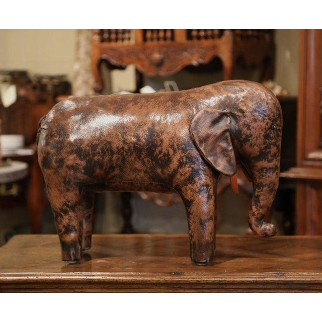 Leather Vintage Spanish Brown Leather Elephant Sculpture Footstool For Sale - Image 7 of 7