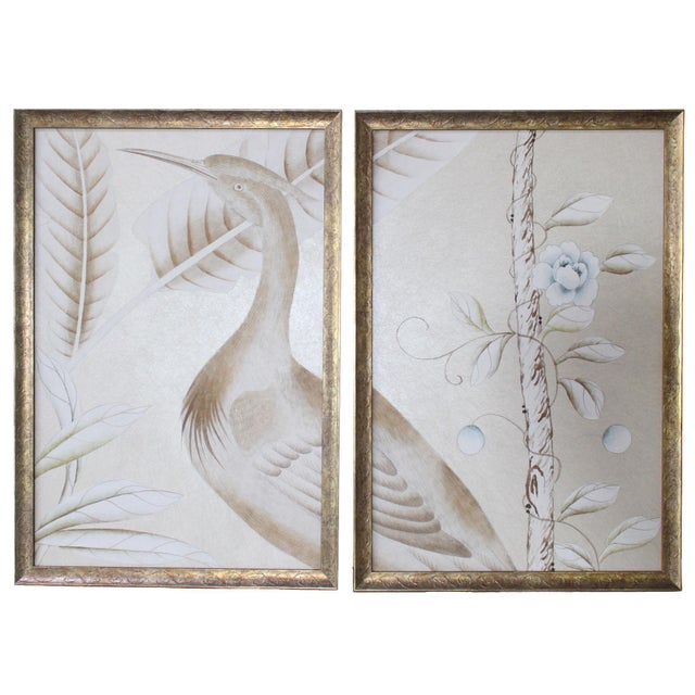 Vintage Chinoiserie Hand-Painted Crane on Champagne Taupe Wallpaper Diptych Paintings - 2 Pieces For Sale - Image 4 of 4