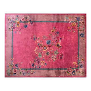 "Chinese Art Deco Pink Rug - 9'x11'6"" For Sale"