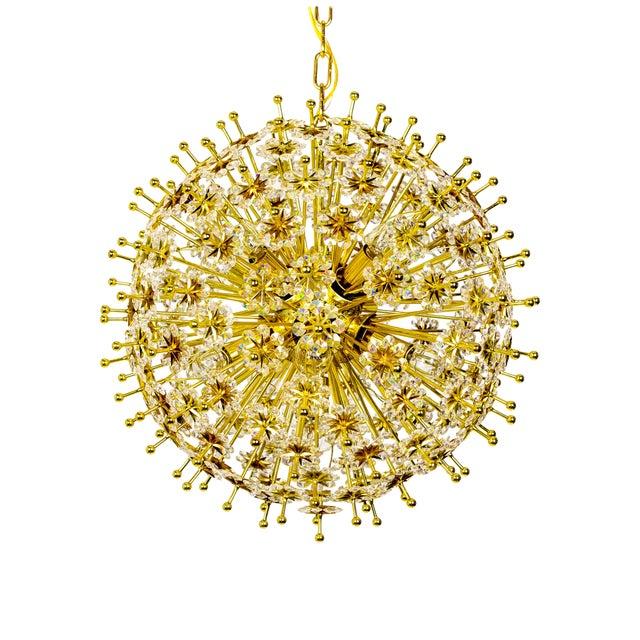 Crystal & Brass Sparkling Sunburst Chandelier (2 Available) For Sale