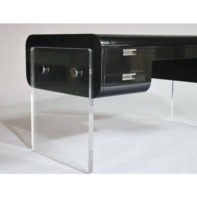 Pace Collection Pace Floating Desk on Lucite Frame For Sale - Image 4 of 10