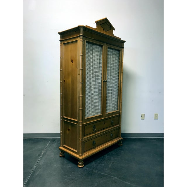 Baker Furniture Inlaid Pine Faux Bamboo Armoire W/ Wire Mesh Doors & Fitted Interior - Image 6 of 11