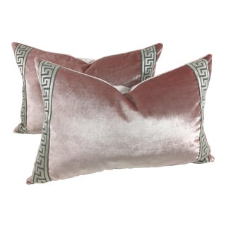Valentine Pink Italian Velvet Pillows- a Pair