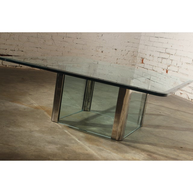 Pace Collection Chrome & Glass Square Coffee Table For Sale - Image 6 of 11
