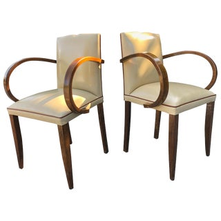 High End Art Deco Parisienne Side Chairs in the Manner of Jules Leleu For Sale