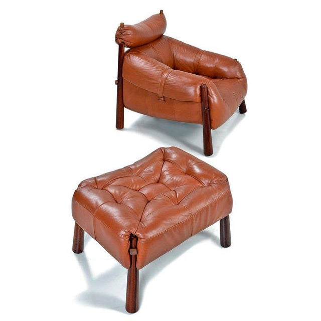 Percival Lafer Percival Lafer Mp-81 Brazilian Rosewood & Leather Lounge Chairs and Ottoman Set For Sale - Image 4 of 13