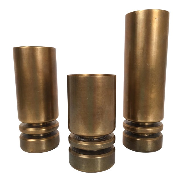 1960's Bronze Candleholders - Set of 3 For Sale