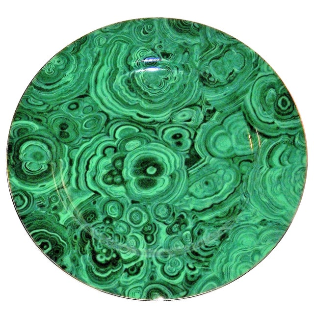 Vintage Neiman Marcus Emerald Green Malachite Serving Plate For Sale - Image 10 of 10