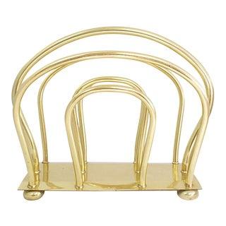 Midcentury English Brass Magazine Rack For Sale