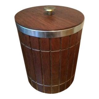 Vintage Mid-Century Modern Danish Style Wood Ice Bucket For Sale